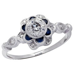 .50 Carat Old European Cut Diamond and Sapphire Ring