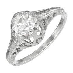 .50 Carat Old European Cut Diamond Art Deco Filigree Gold Engagement Ring