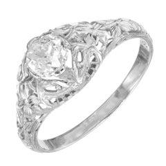 .50 Carat Old Mine Cut Diamond Art Deco Gold Engagement Ring
