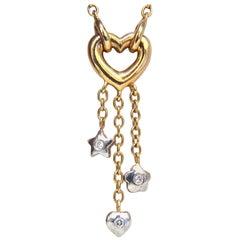 .50 Carat Open Heart Diamonds Dangle Necklace 14 Karat G/Vs Stars and Heart