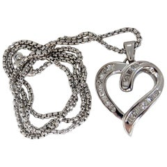 .50 Carat Open Heart Rounds and Baguettes Diamond Necklace 14 Karat