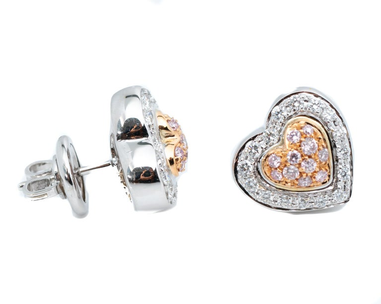 Modern .50 Carat Pink and White Diamonds Double Heart Shape Earrings For Sale