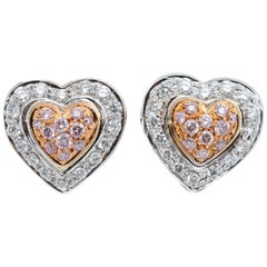 .50 Carat Pink and White Diamonds Double Heart Shape Earrings