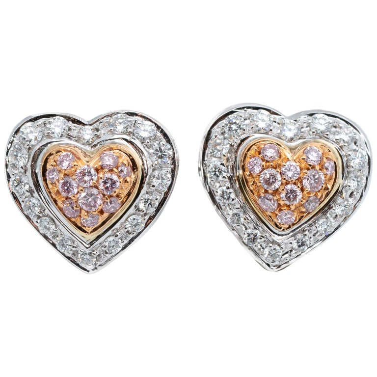 .50 Carat Pink and White Diamonds Double Heart Shape Earrings For Sale