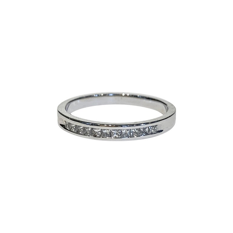.50 Carat Princess Cut Diamonds Channel Set Eternity Band in 18 Carat White Gold For Sale