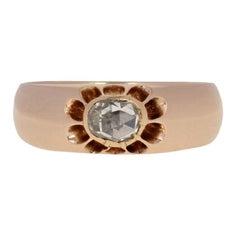 .50 Carat Rose Cut Diamond Georgian Ring, 14 Karat Rose Gold Men's Antique