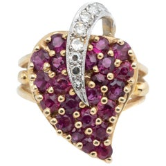 .50 Carat Ruby and .10 Carat Diamond Yellow Gold Cocktail Ring