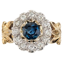 .50 Carat Sapphire Diamond Halo Flower Gold Engagement Ring