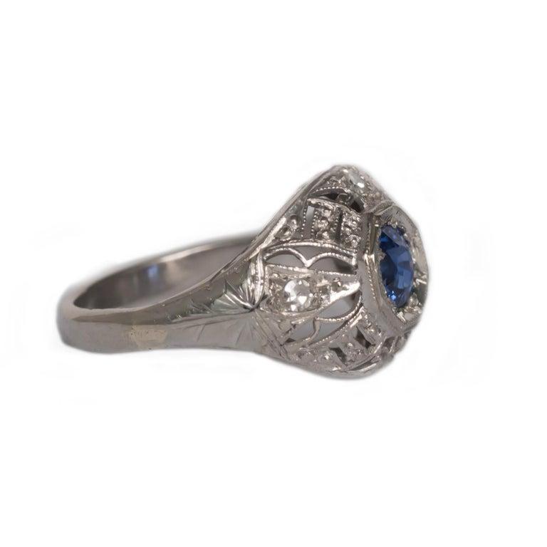 Edwardian .50 Carat Sapphire Platinum Engagement Ring For Sale