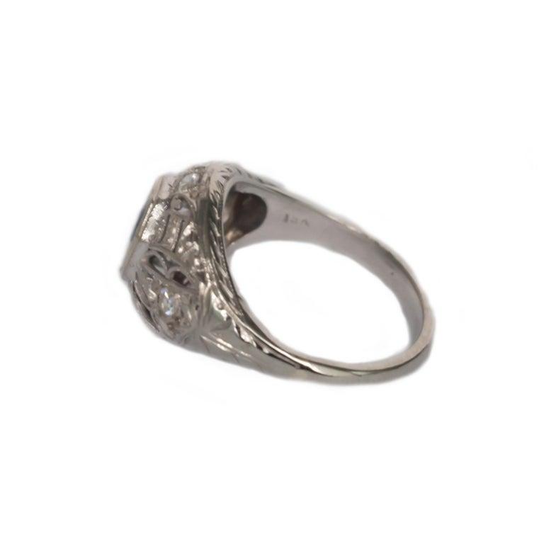Women's .50 Carat Sapphire Platinum Engagement Ring For Sale
