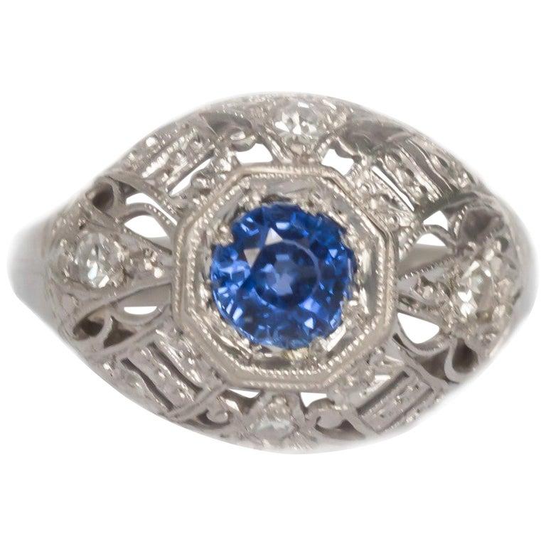 .50 Carat Sapphire Platinum Engagement Ring For Sale