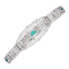.50 Carat Simulated Emerald Art Deco Filigree Bracelet, 10k Gold Vintage Link