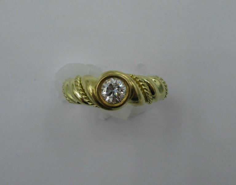 Contemporary .50 Carat Tiffany & Co. Diamond Ring Engagement Ring E Color 18 Karat Gold For Sale