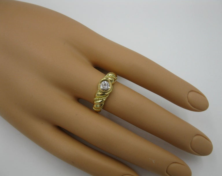Round Cut .50 Carat Tiffany & Co. Diamond Ring Engagement Ring E Color 18 Karat Gold For Sale