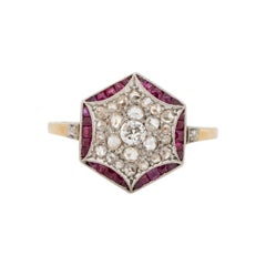 .50 Carat Total Weight Art Deco Diamond 14 Karat Yellow Gold Engagement Ring