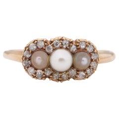 .50 Carat Total Weight Art Deco Diamond 14 Karat YG Pearl Engagement Ring