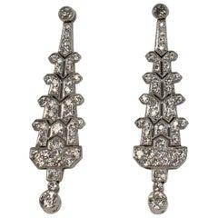 5.0 Carat Total Weight Diamond Dangle Earrings Set in Platinum