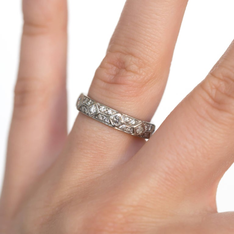 1920s Art Deco Platinum & Diamond Wedding Band For Sale 1
