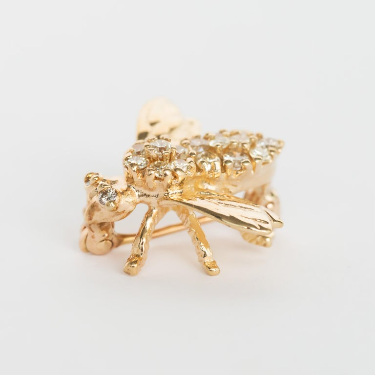 Retro .50 Carat Total Weight Diamond Yellow Gold Brooch  For Sale