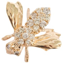 .50 Carat Total Weight Diamond Yellow Gold Brooch