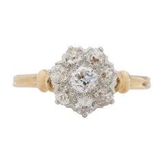 .50 Carat Total Weight Edwardian Diamond 14 Karat Yellow Gold Engagement Ring