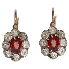 .50 Carat Total Weight Garnet Rose Gold Earrings