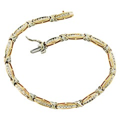 ".50 Carat ""X"" Kiss Link Style Bracelet with Diamonds 14 Karat 2-Tone"