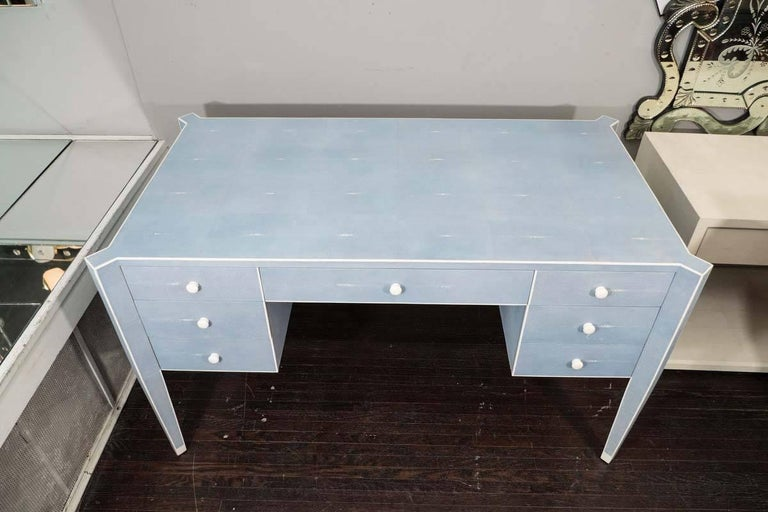 Art Deco 50% Deposit for Custom Blue Shagreen and Bone Desk in 60