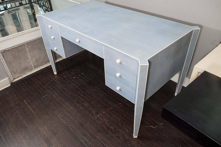 50% Deposit for Custom Blue Shagreen and Bone Desk in 60