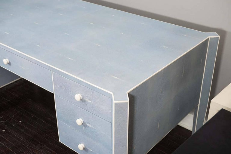 Contemporary 50% Deposit for Custom Blue Shagreen and Bone Desk in 60