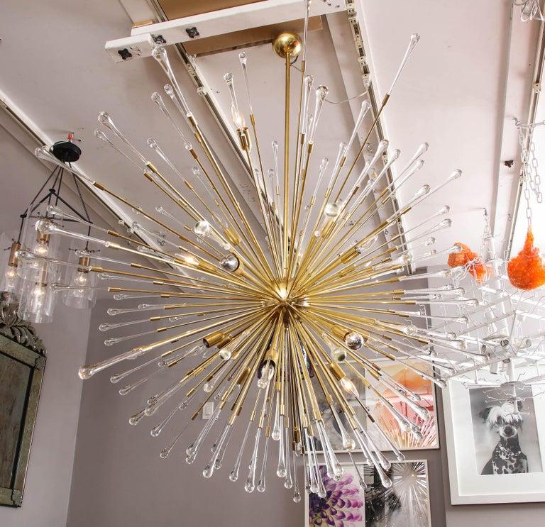 Italian (50% Deposit) Giant Glass Teardrop Sputnik Chandelier, 1 of 2 For Sale