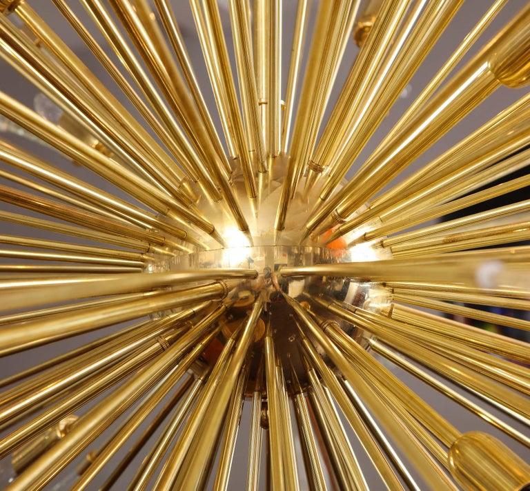 Brass (50% Deposit) Giant Glass Teardrop Sputnik Chandelier, 1 of 2 For Sale