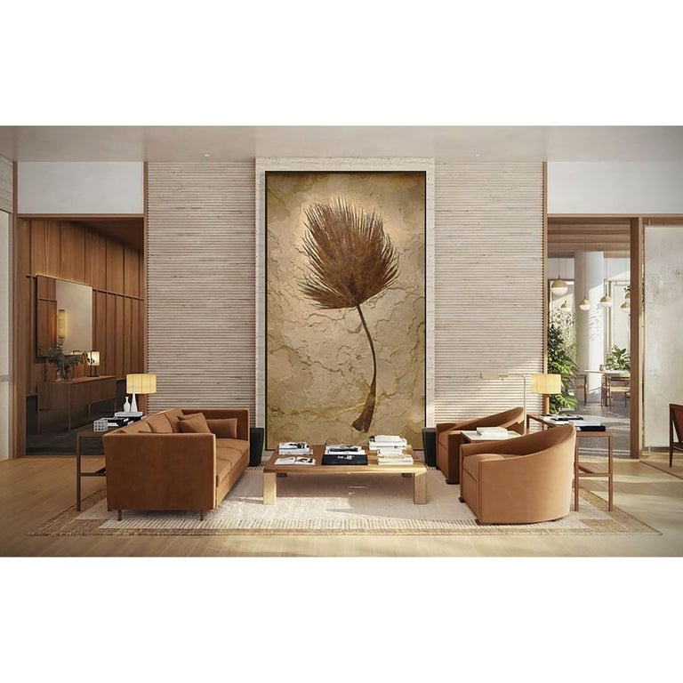 This mural features a impressively sized fossilized palm frond, an Eocene era fossil dating back about 50 million years. Plant life often produces some of the most aesthetic Green River Formation fossils we have prepared over the years; due to the