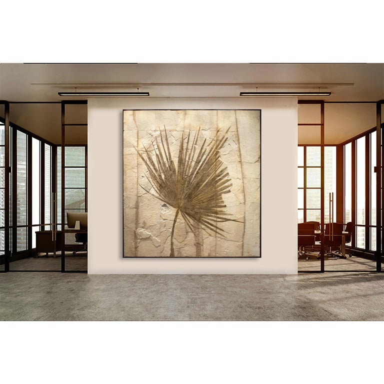 This mural features an impressively sized fossilized palm frond, an Eocene era fossil dating back circa 50 million years. Plant life often produces some of the most aesthetic Green River Formation fossils we have prepared over the years; due to the