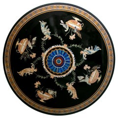 50% of Round Pietre Dure Black Marble Mosaic Table Top with Greek Scenes
