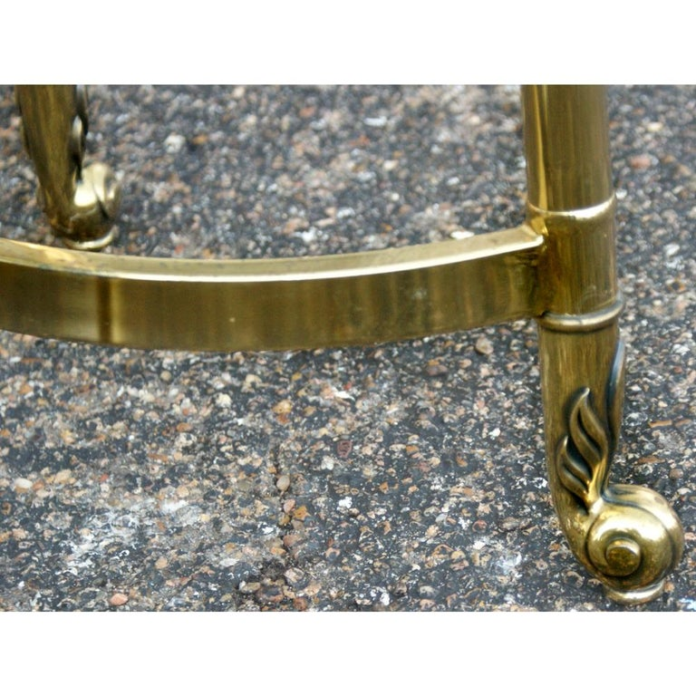 European Oval Italian Neoclassical Vintage Brass Side Table For Sale
