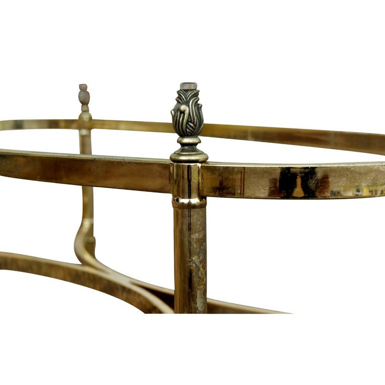 Late 20th Century Oval Italian Neoclassical Vintage Brass Side Table For Sale