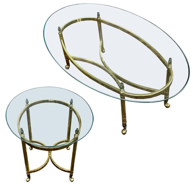 Glass Oval Italian Neoclassical Vintage Brass Side Table For Sale