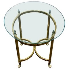 Oval Italian Neoclassical Vintage Brass Side Table