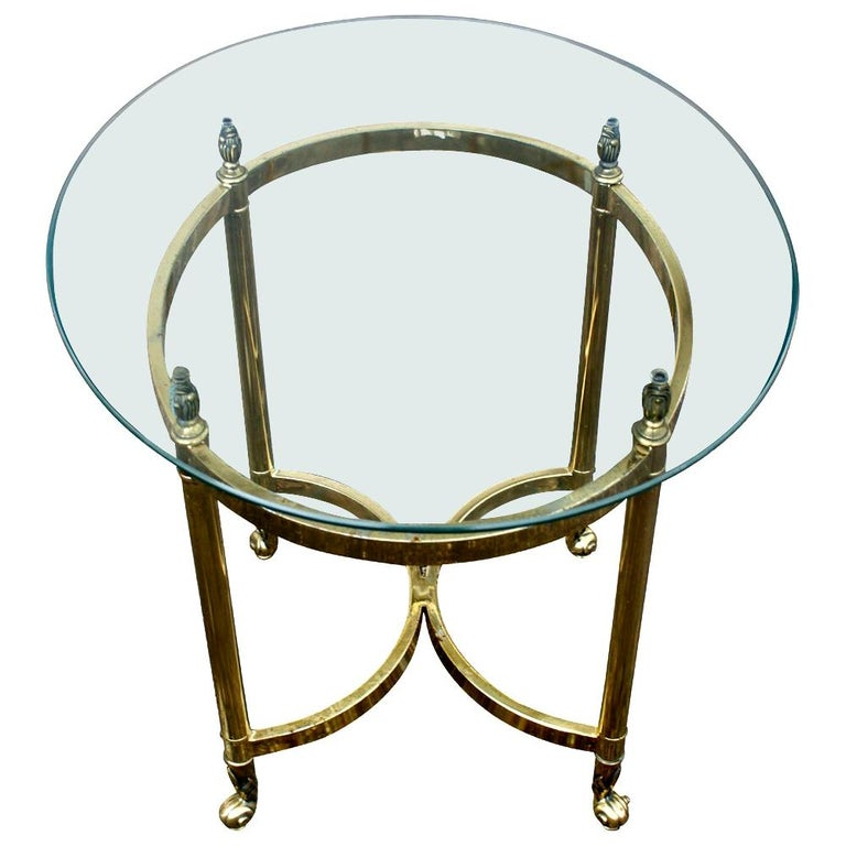 Oval Italian Neoclassical Vintage Brass Side Table For Sale