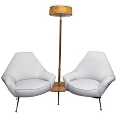1950s Living Room with Floor Lamp, Wood Brass Padded, 1950, Italy