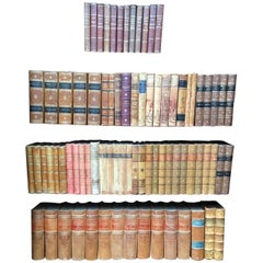 Scandinavian Antique Leather-Bound Books, Brown and Red Colors
