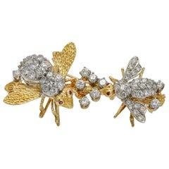 5.00 Carat 18 Karat Yellow Gold Platinum Diamond Bee Brooch