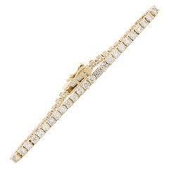 5.00 Carat 4-Prong Round Diamond Tennis Bracelet in 14 Karat Yellow Gold