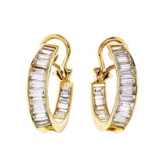 5.00 Carat Baguette Diamond Inside Out Hoop Gold Earrings