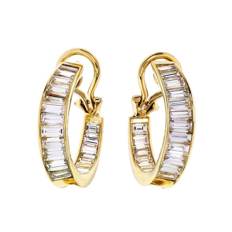 5.00 Carat Baguette Diamond Inside Out Hoop Gold Earrings