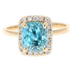 5.00 Carat Blue Zircon Diamond White Gold Ring