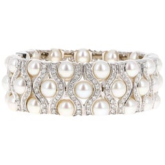5.00 Carat Diamond and Natural Pearl Bangle Cuff Bracelet