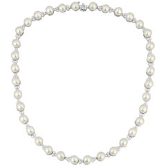 5.00 Carat Diamond and Pearl White Gold Necklace
