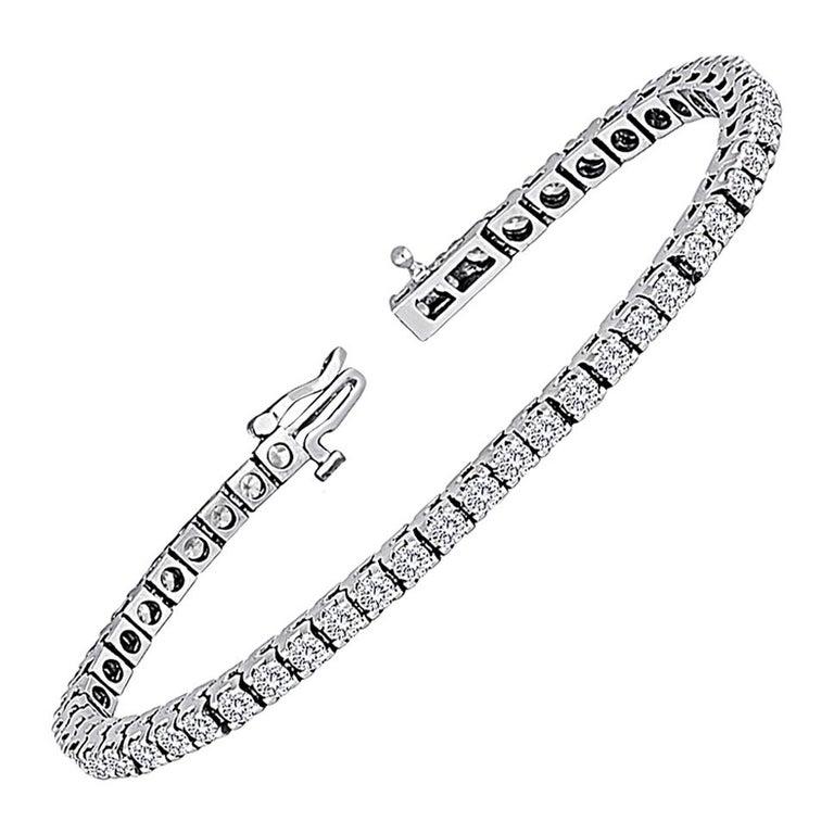 5.00 Carat Diamond Gold Tennis Bracelet For Sale